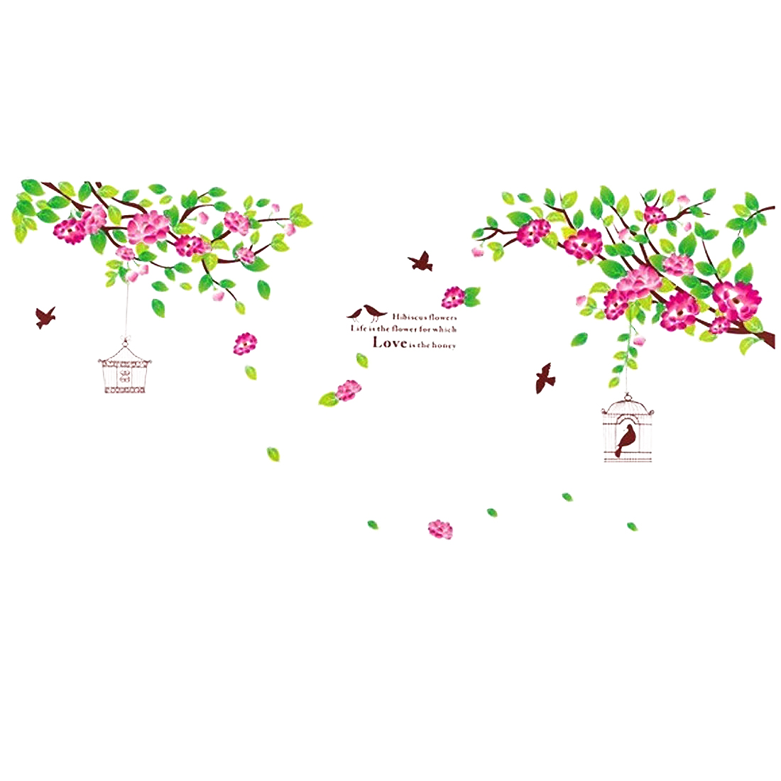 Household Living Room Hibiscus Flowers Pattern Removable Wall Sticker Wallpaper Mural