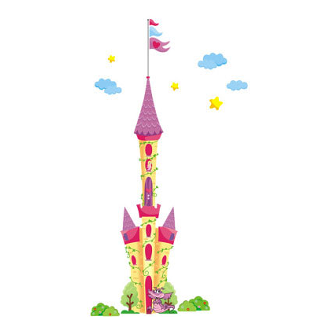 Nursery School Castle Pattern Removable Wall Sticker Mural Multicolor