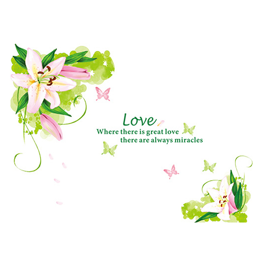 Loving Lily Pattern Self-adhesive Removable Wall Sticker Paper Mural Ornament