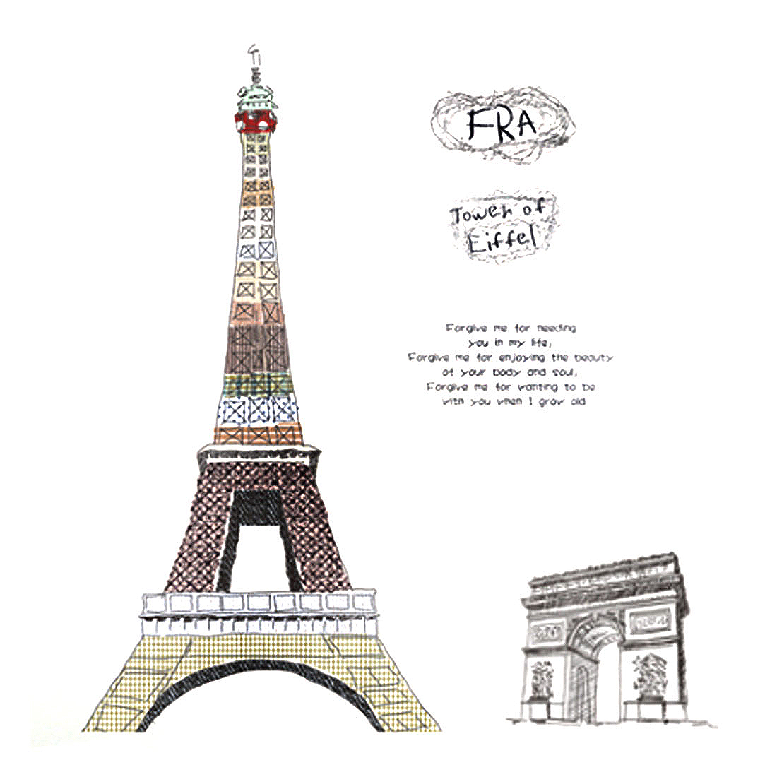 Eiffel Tower Pattern Self-adhesive Removable Wall Sticker Paper Mural Ornament