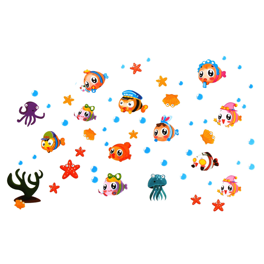 Cartoon Fish Pattern Self-adhesive Removable Wall Sticker Paper Mural Ornament