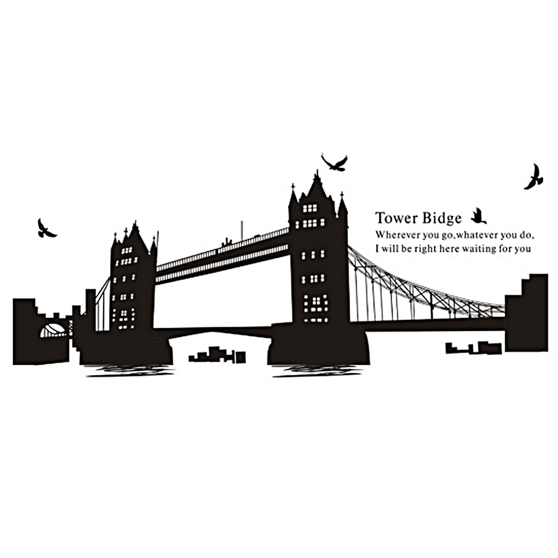 Tower Bridge Pattern Self-adhesive Removable Wall Sticker Paper Mural Ornament