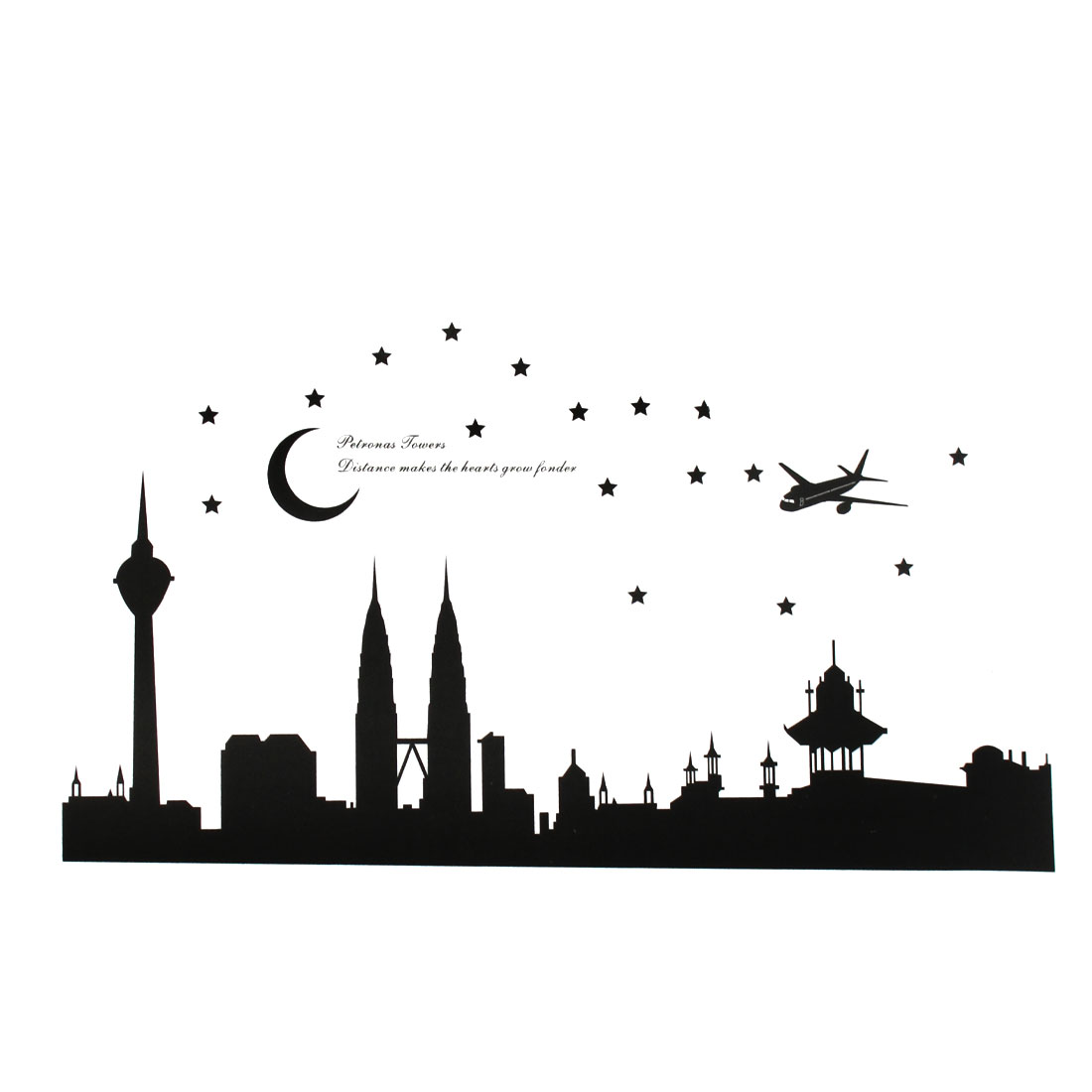 Petronas Towers Pattern Self-adhesive Removable Wall Sticker Paper Mural Ornament