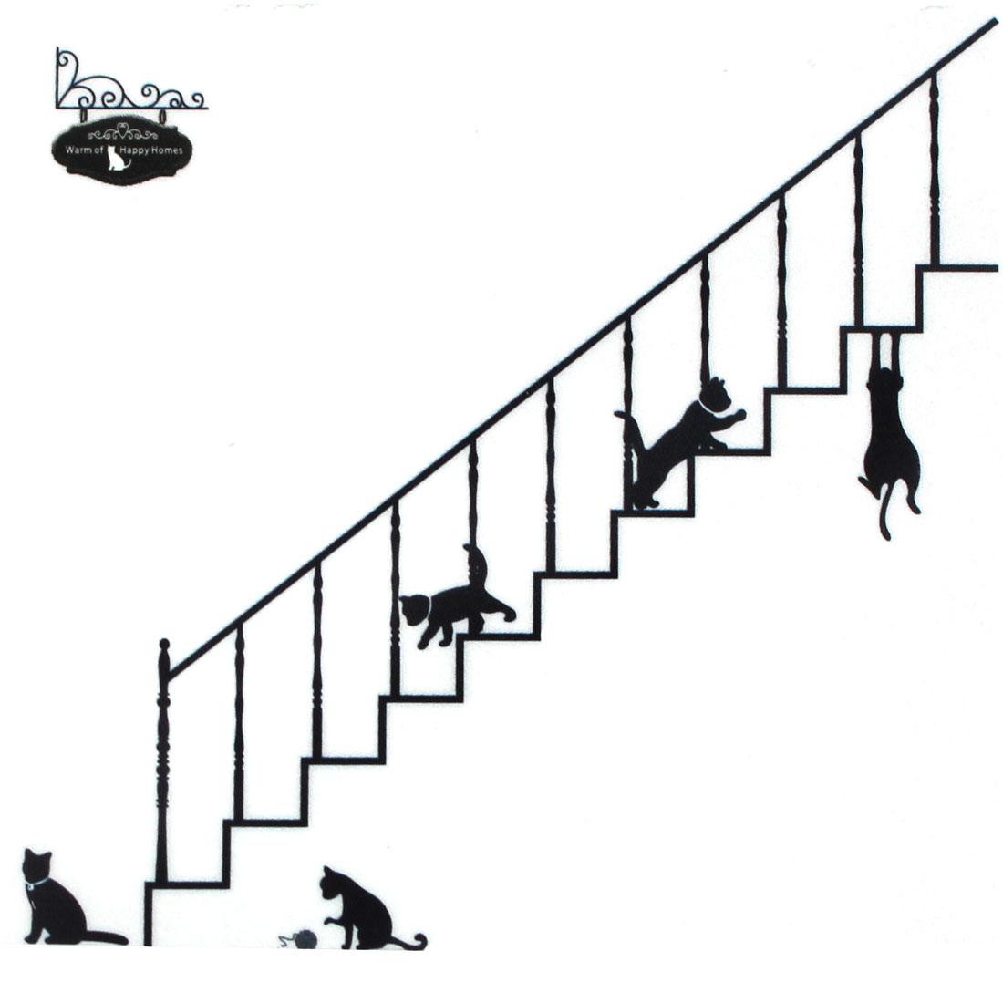 Stairs Cat Pattern Self-adhesive Removable Wall Sticker Paper Mural Ornament