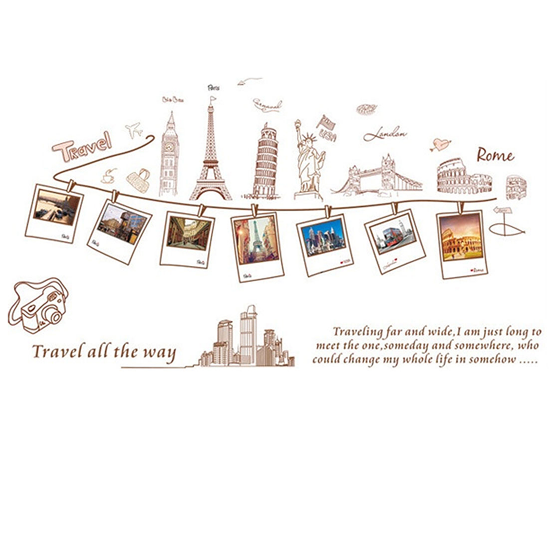 Coffee Shop Paris Travel Way Pattern Removable Wall Sticker Mural