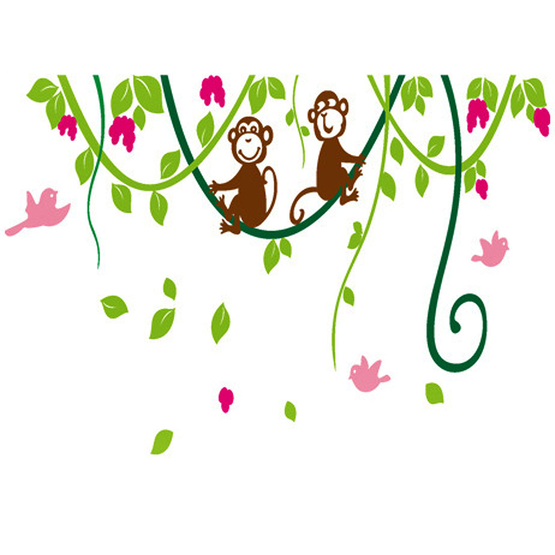 Household Living Room Monkeys Pattern Removable Wall Sticker Wallpaper Mural