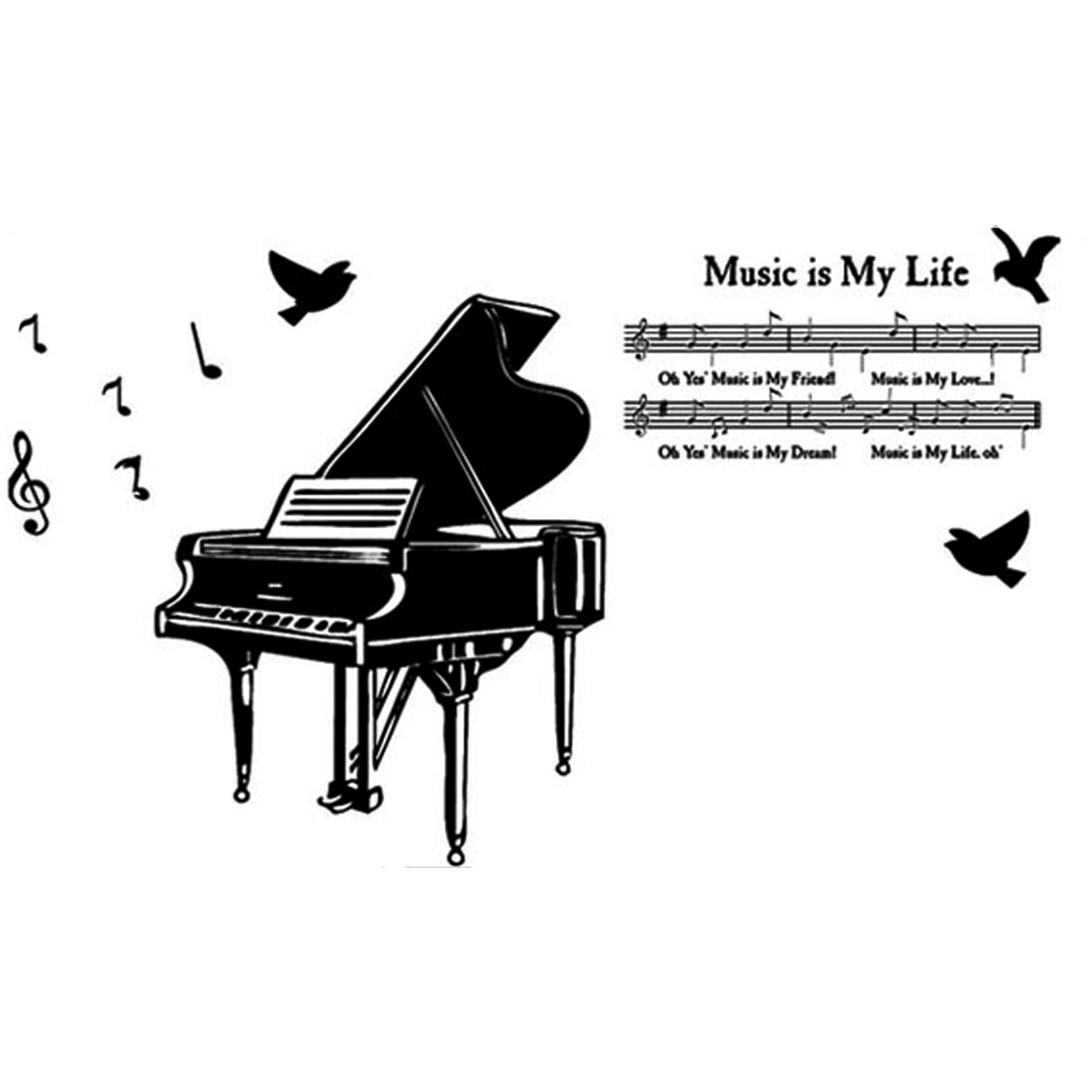 Music Room Piano Notes Pattern Removable Wall Sticker Wallpaper Mural