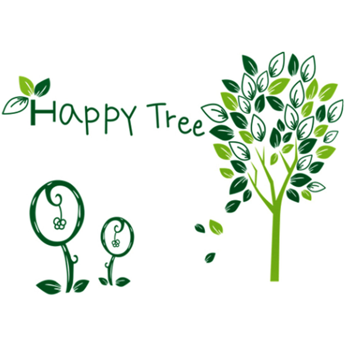 Household Living Room Happy Tree Pattern Removable Wall Sticker Wallpaper Mural