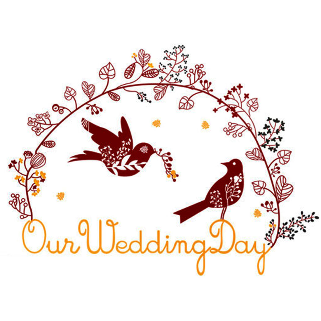 Wedding Room Magpies Couples Pattern Removable Wall Sticker Wallpaper Mural