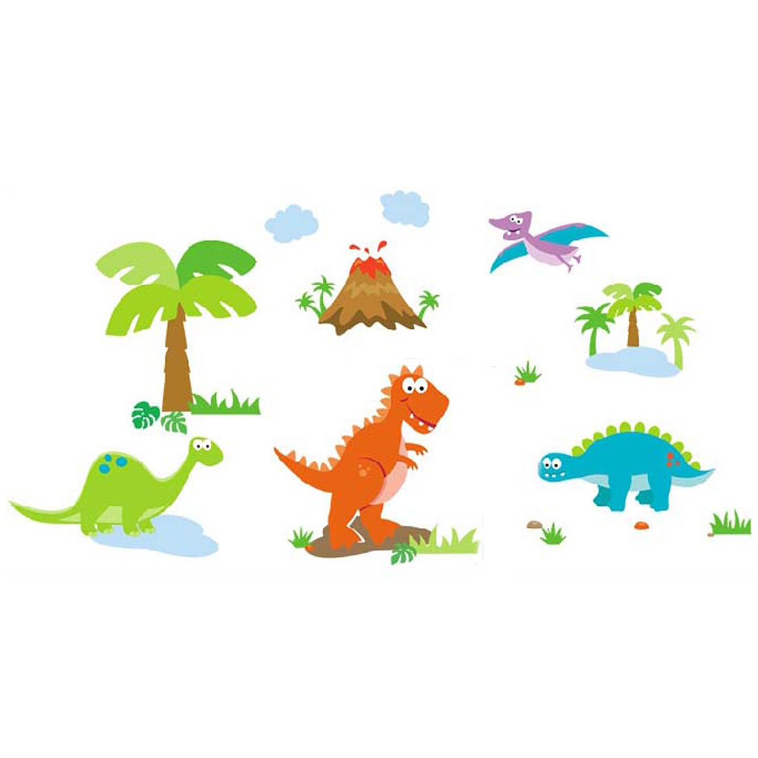 Nursery School Bedroom Dinosaurs Print Removable Wall Sticker Wallpaper Mural