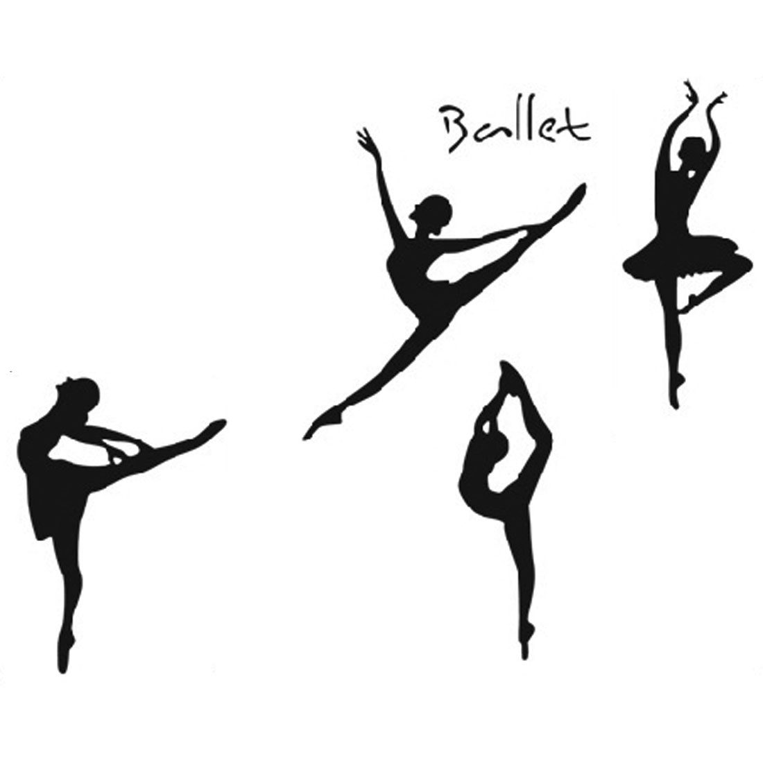 Dance Room Ballet Dancers Pattern Removable Wall Sticker Wallpaper Mural
