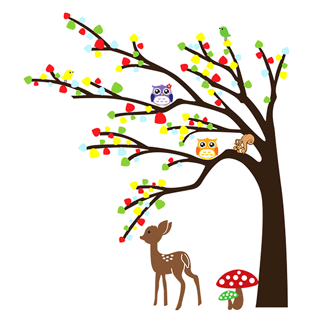 Nursery Bedroom Decor Tree Animals Pattern Adhesive Wall Sticker Decal