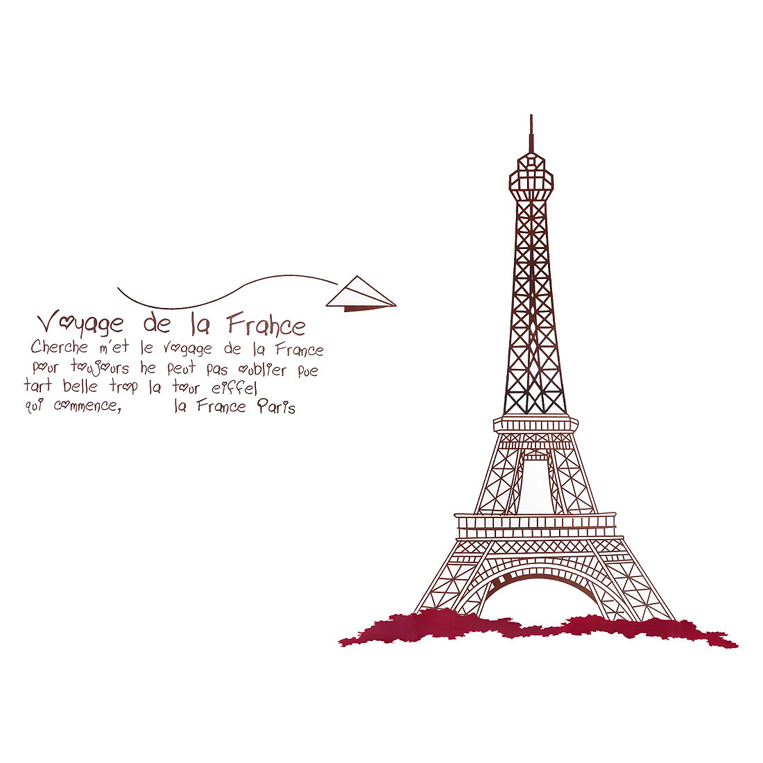 Home Eiffel Tower Pattern Wall Sticker Art Mural Decal Wallpaper Chocolate Color