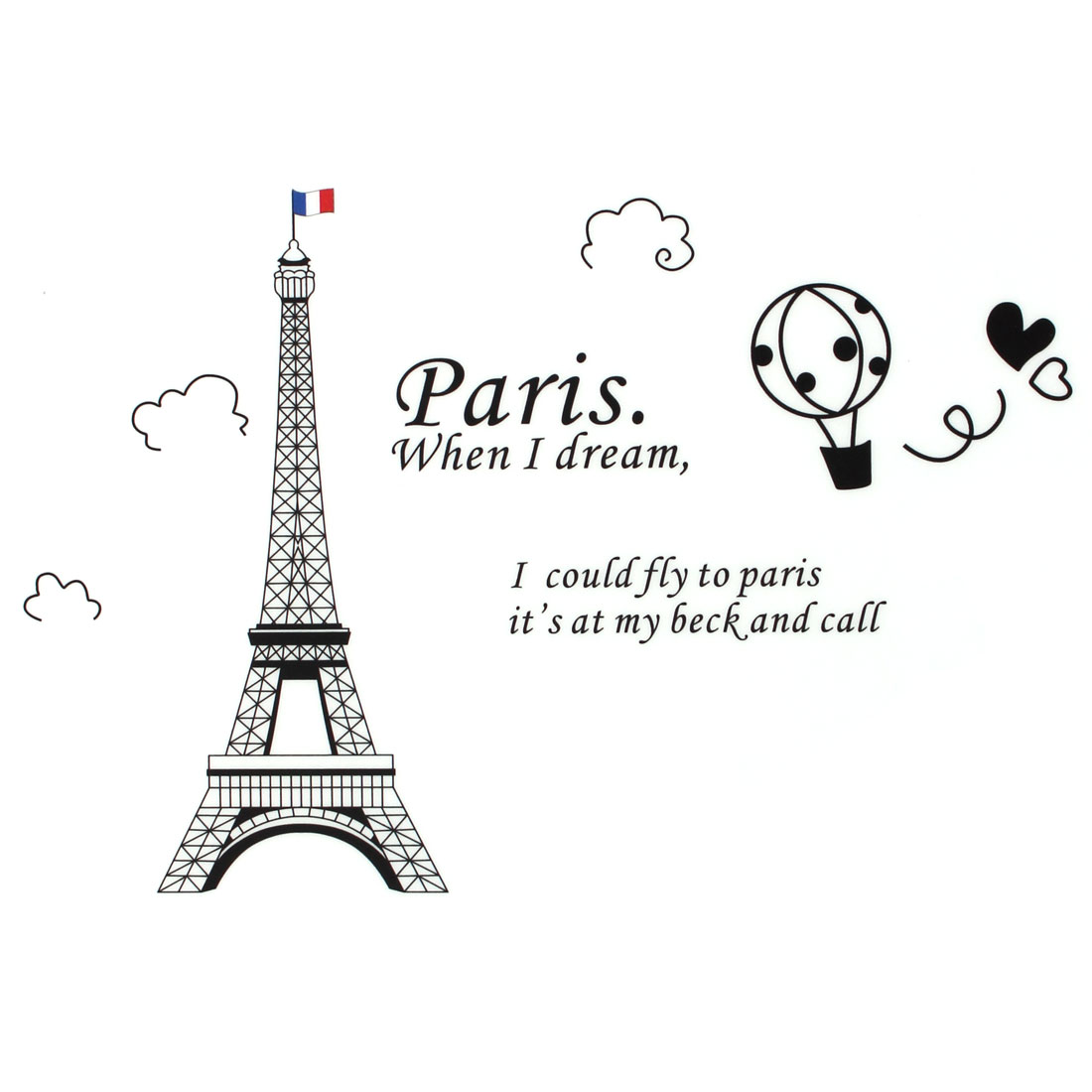 Eiffel Tower Pattern PVC Water Resistant Art Decal Wall Sticker Mural 90 x 60cm