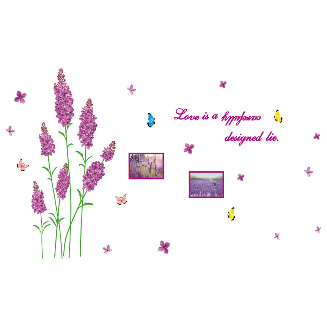 Home Bedroom Decor Lavender Pattern Wall Sticker Art Mural Decal