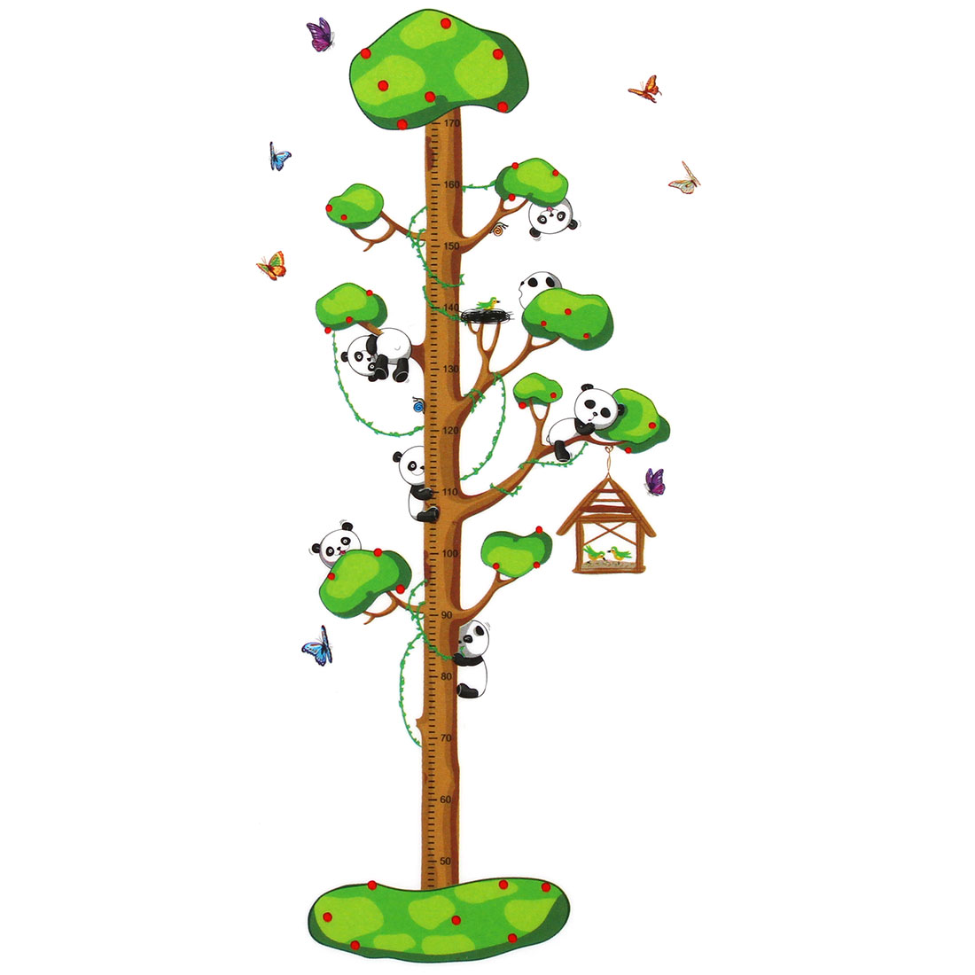 Panda Tree Growth Height Measure Chart Pattern Wall Sticker DIY