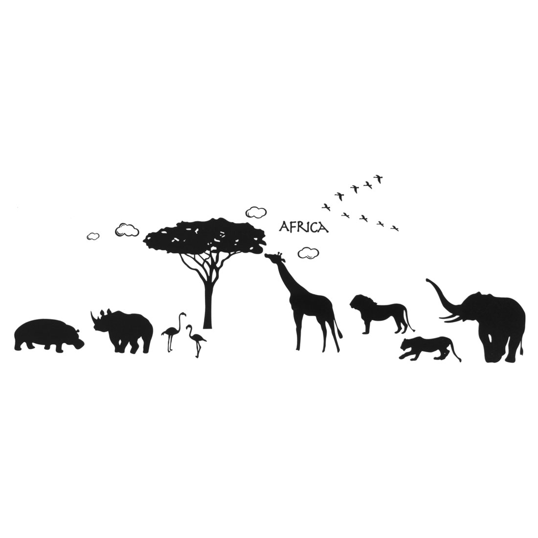 Africa Animals Tree Pattern Removable Wall Sticker Paper Mural Ornament 90x60cm
