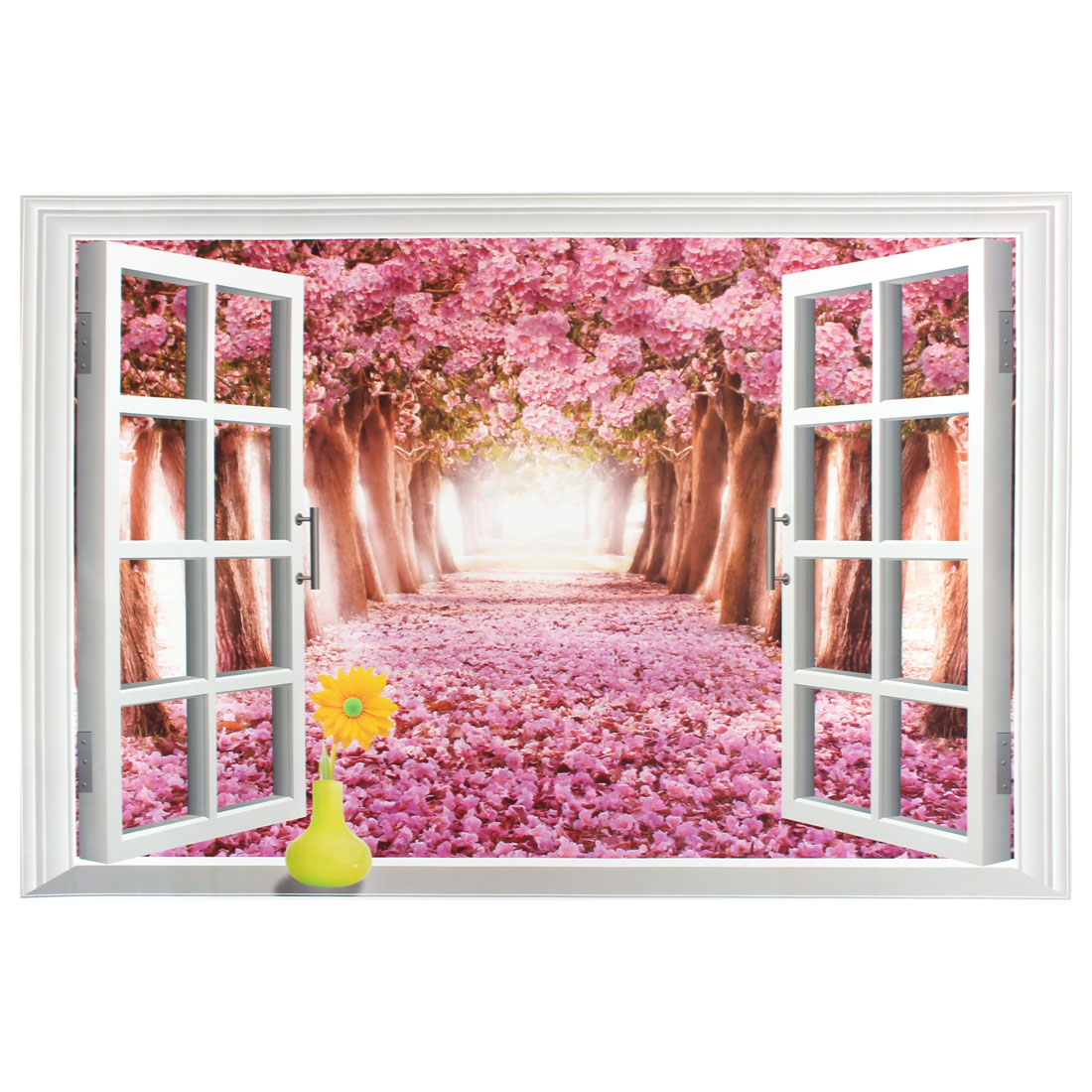 Sakura Pattern 3D Window Scenery Removable Wall Sticker Art Mural Decal 90 x 60cm