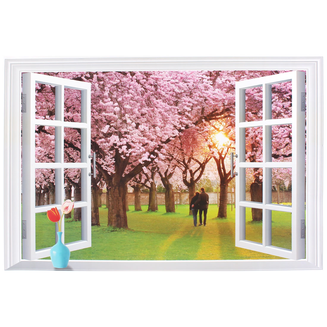 3D Sakura Couple Pattern Removable Wall Sticker Paper Mural Ornament 90x60cm