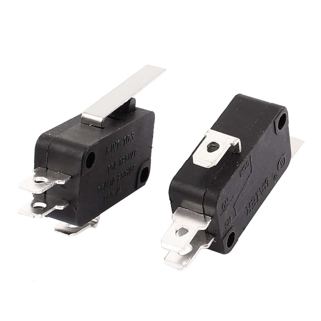 2 Pcs 250VAC 16A 125VAC 15A Long Lever SPDT Momentary Micro Limit Switch Black