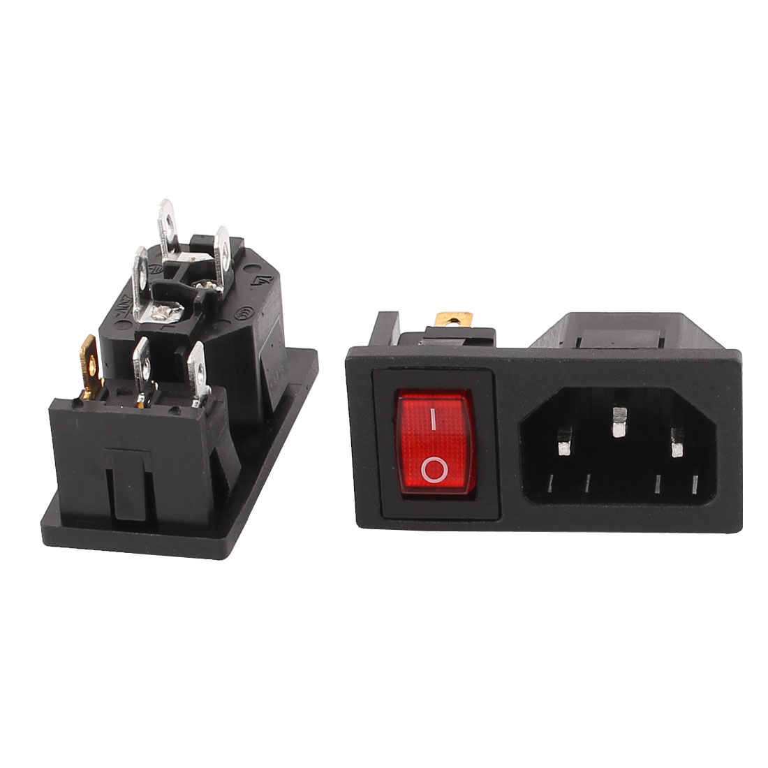 2 Pcs 250V 10A 3 Terminals Red Lamp Panel Mounted Inlet Male Power Socket Connector