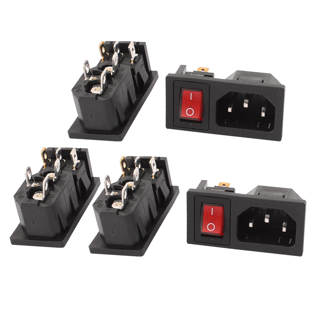 5 Pcs IEC320 C14 AC 250V 10A Power Inlet Red Light SPST Rocker Switch
