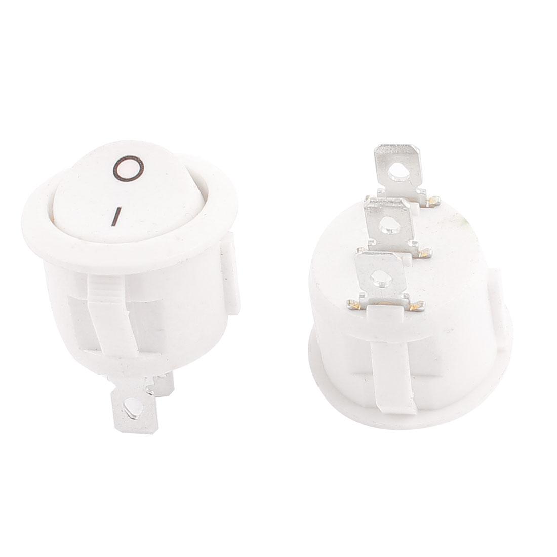 2 Pcs AC 250V/6A 125V/10A Round SPDT ON-OFF Rocker Switch KCD1-105 White
