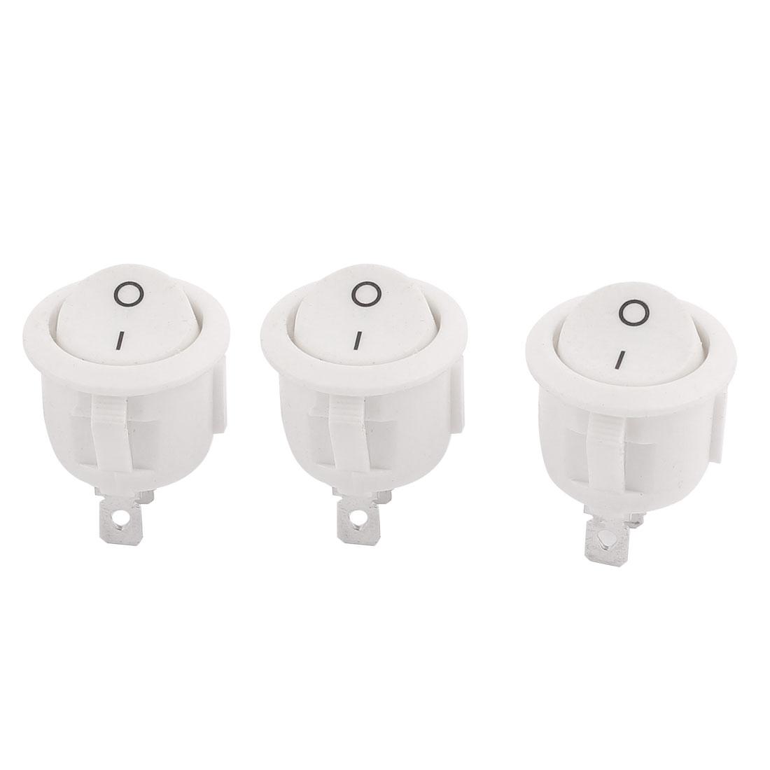 3 Pcs AC 250V/6A 125V/10A Round SPDT ON-OFF Rocker Switch KCD1-105 White