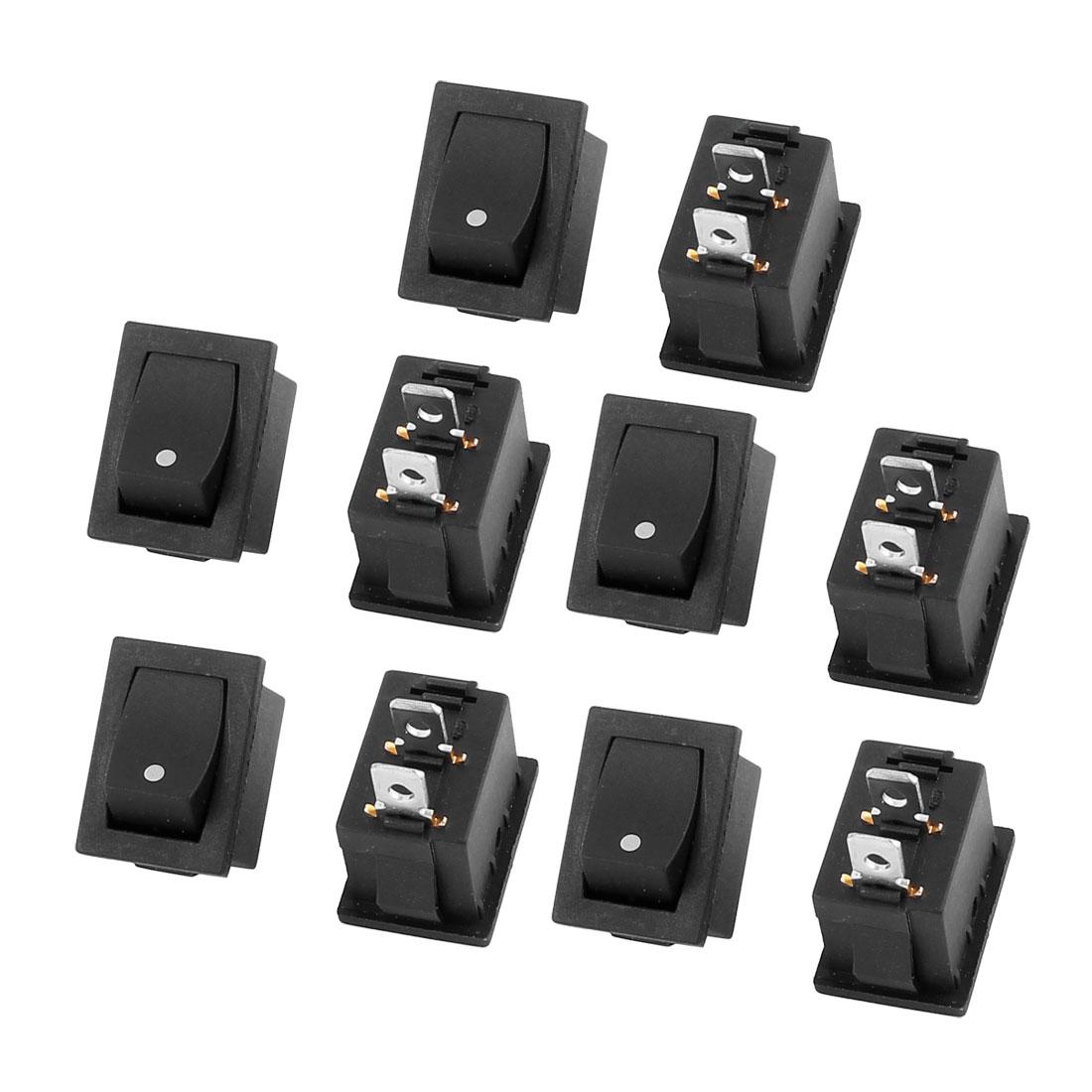 10 Pcs AC250V 6A 125V 10A 2 Terminal ON-OFF SPST Rocker Switch Black