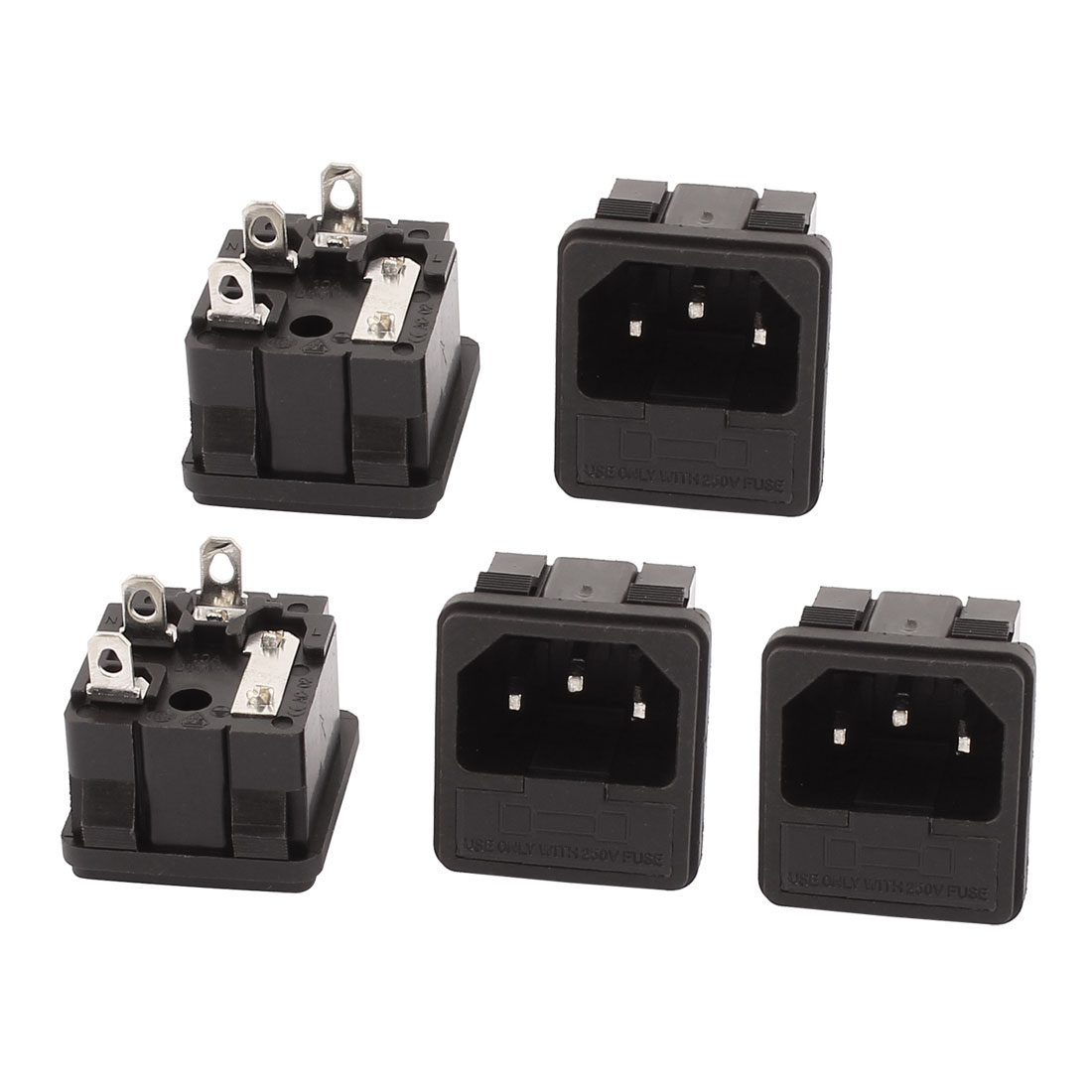5 Pcs AC250V 10A 3 Terminals IEC320 C14 Male Inlet Power Panel Connector Socket
