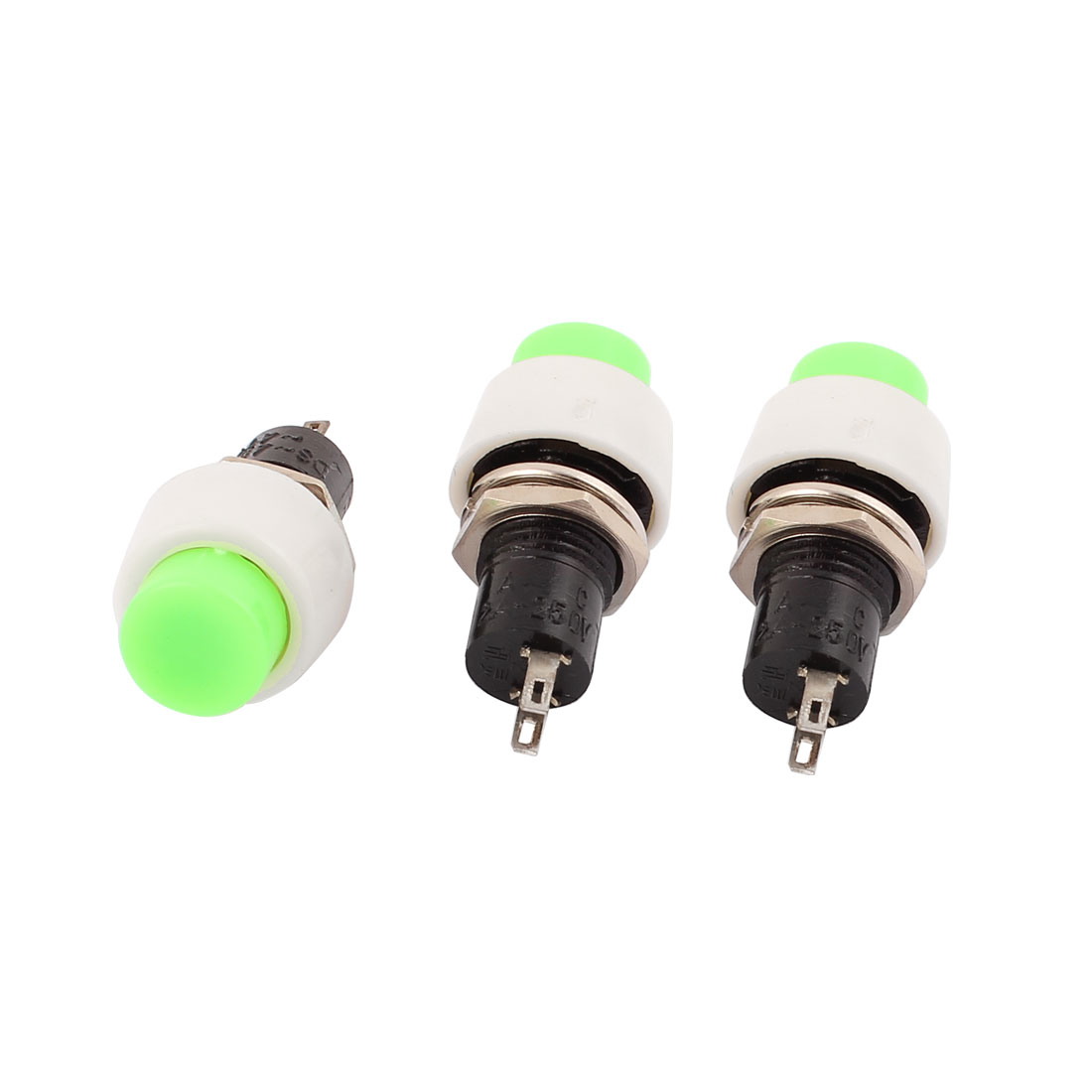 3 Pcs AC250V 2A Panel Mounted SPST Latching Plastic Push Button Switch Green
