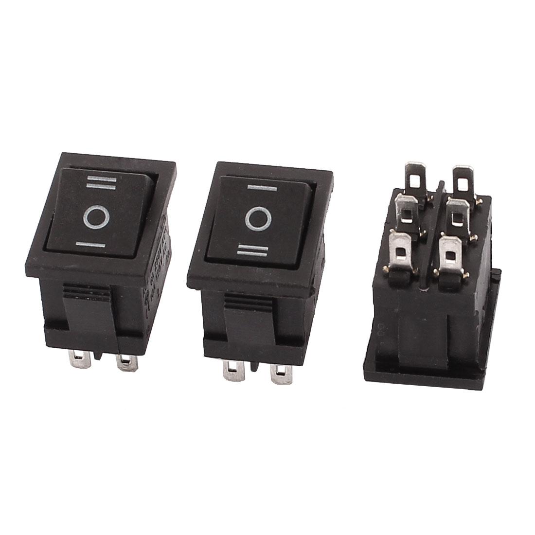 3 Pcs AC 250V 6A 125V 10A 6 Terminals DPDT On/Off/On Boat Rocker Switch Black