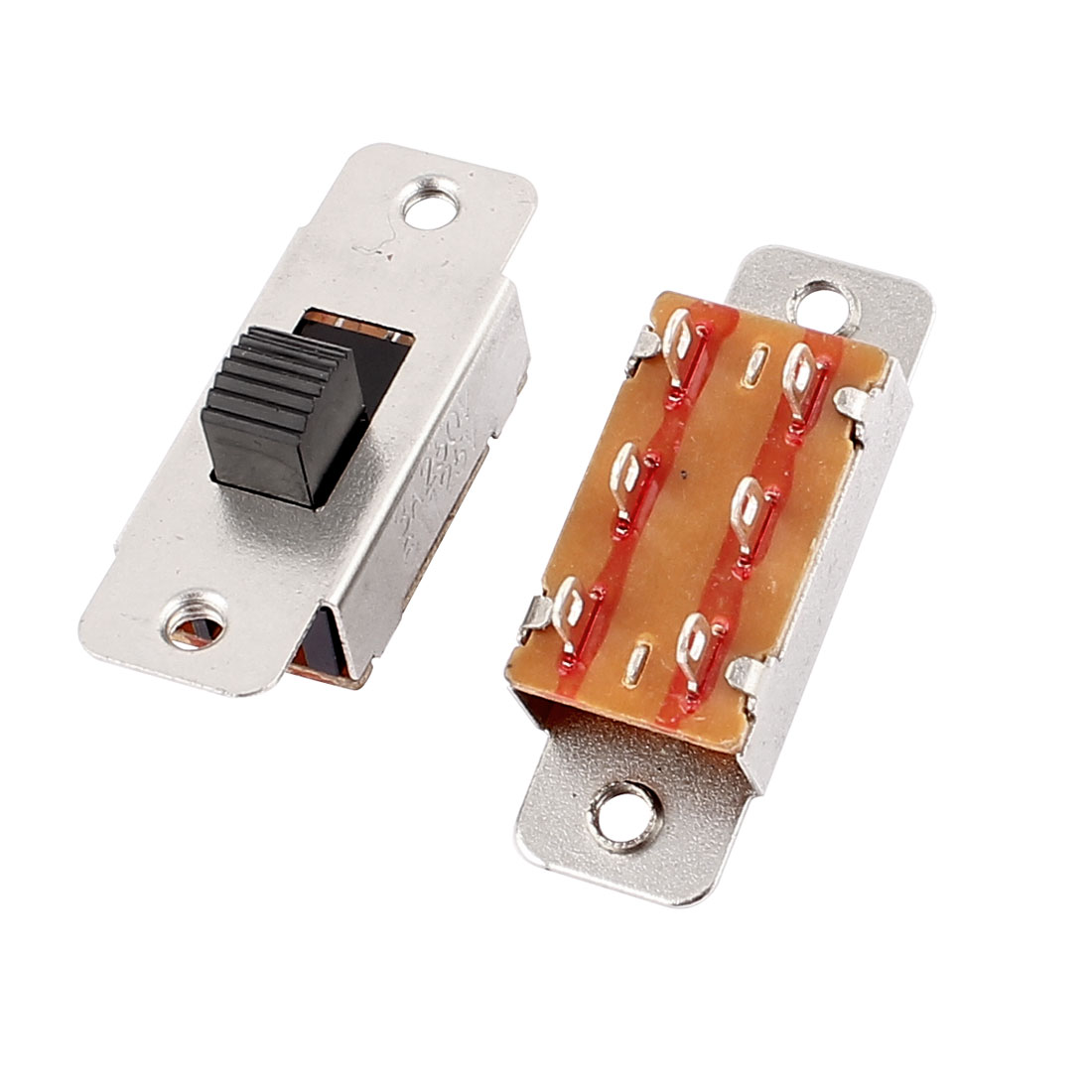 2 Pcs 3A 12V 6 Pins 2 Positions DPDT On/On Mini Slide Switch