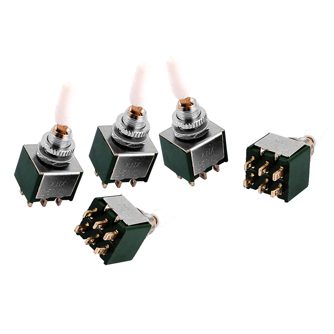 5 Pcs AC 250V 2A DPDT ON/ON 6 Terminals 2 Position Green Toggle Switches