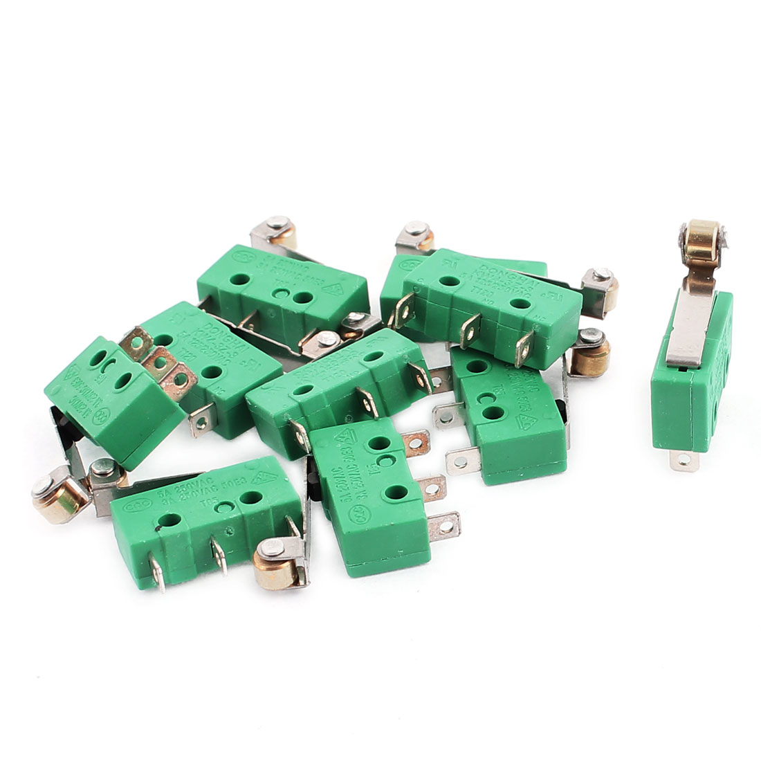 10 Pcs 5A AC250V/125V Roller Lever Arm SPDT 3 Terminals Momentary Micro Switch