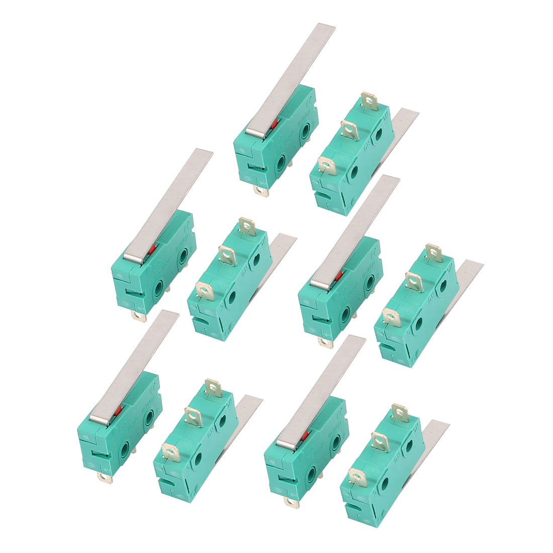 10 pcs AC 250V/125V 5A Long Lever Push Button SPDT Momentary Micro Limit Switch