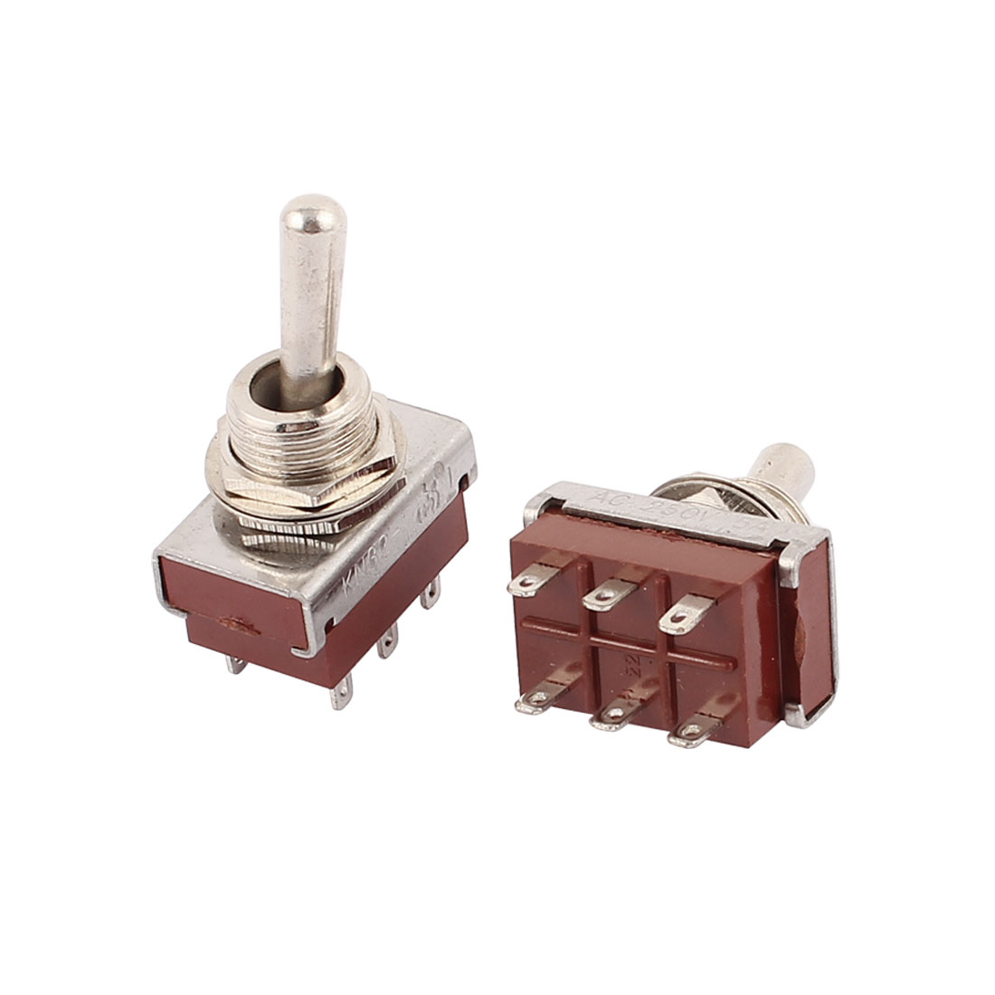 2 Pcs DPDT KN-32 250VAC 5A ON/OFF/OF 6 Terminal Latching Toggle Switch