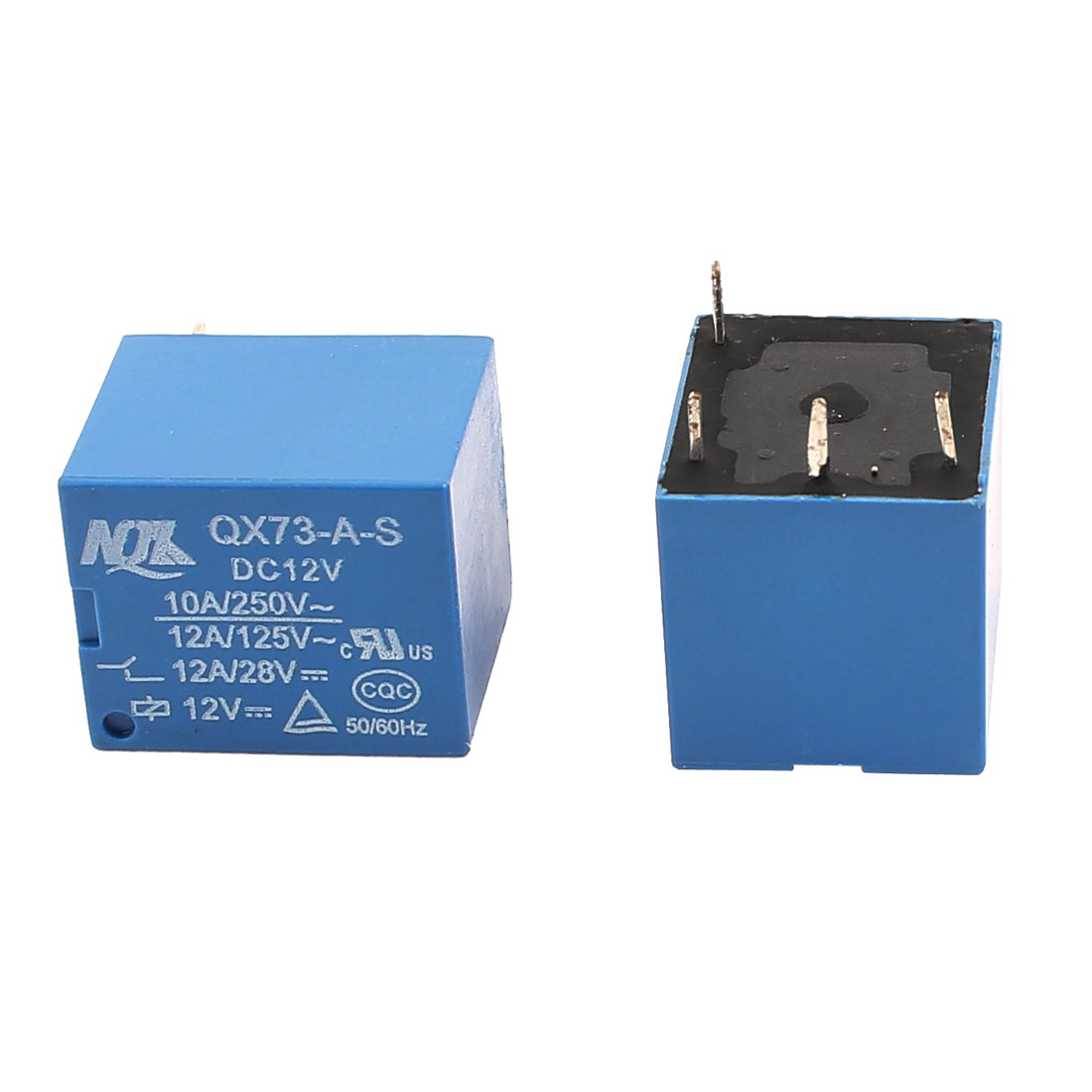 2 Pcs DC 12V 250VAC 10A 125VAC 12A 4 Terminals Vehicle Changeover Power Relay Blue