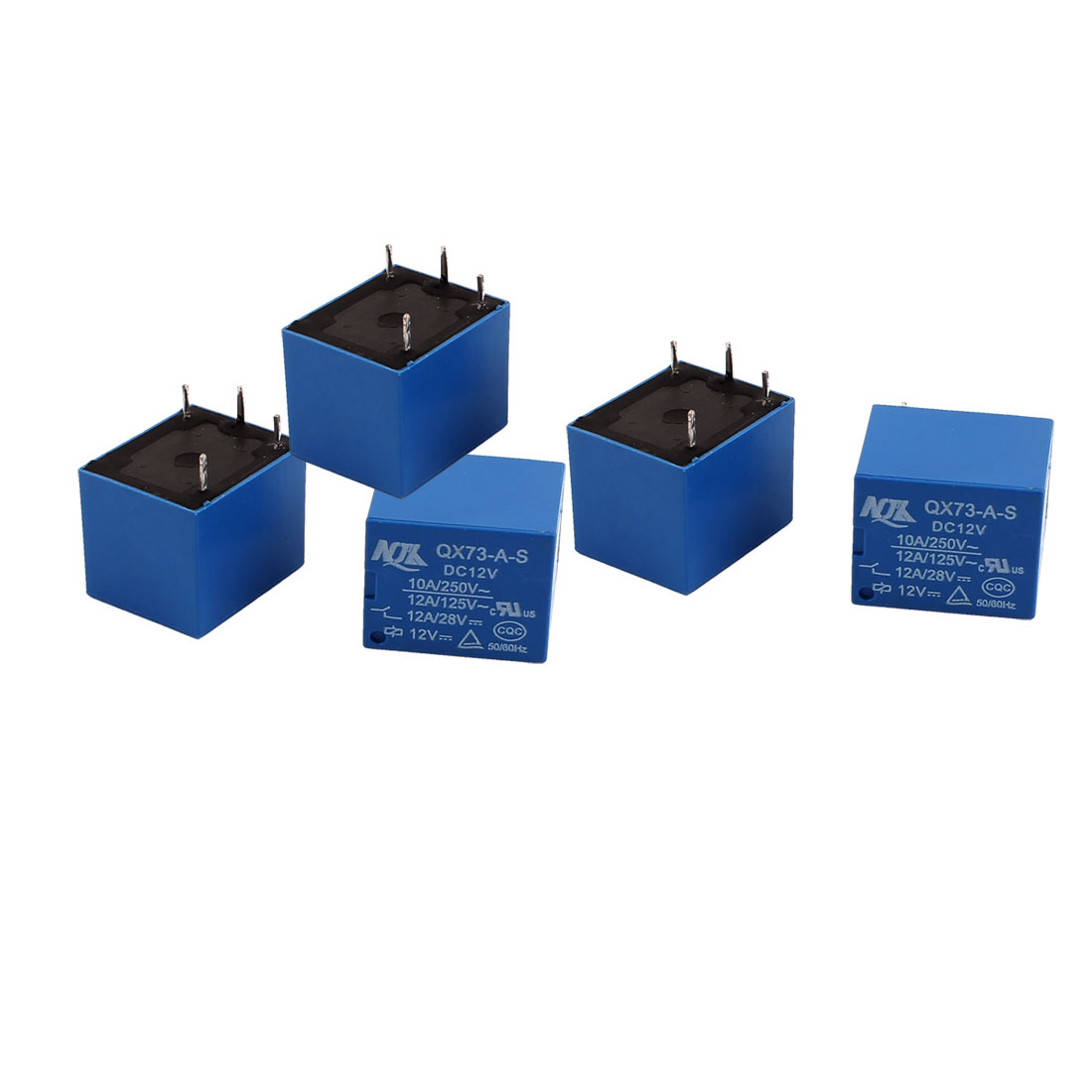 5 Pcs DC 12V 250VAC 10A 125VAC 12A 4 Terminals Vehicle Changeover Power Relay Blue