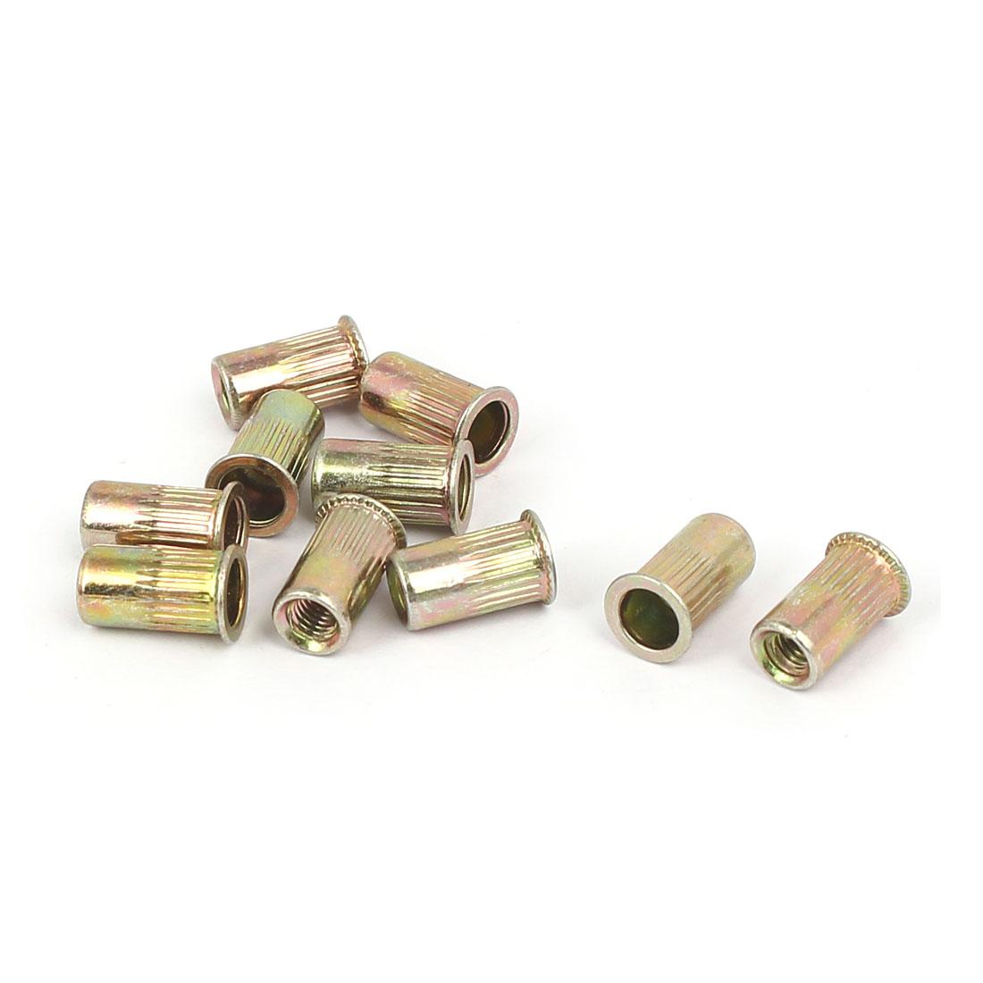 Metal Countersunk Flat Head Knurled Rivet Nut Insert Nutsert M3x9mm 10pcs