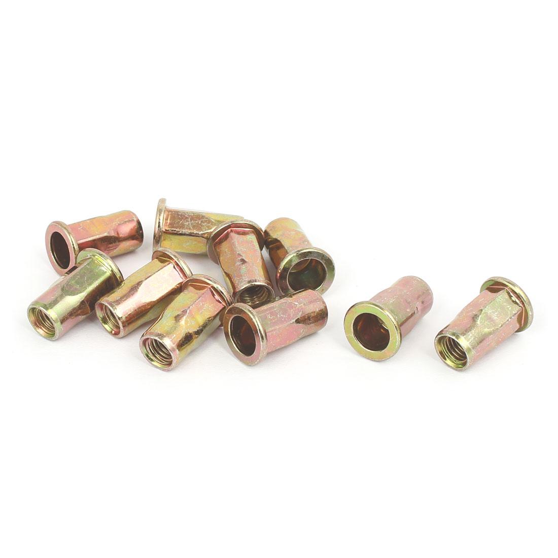 5mmx18mm Flat Head Semi Hex Body Open End Blind Rivet Nuts Fasteners 10pcs
