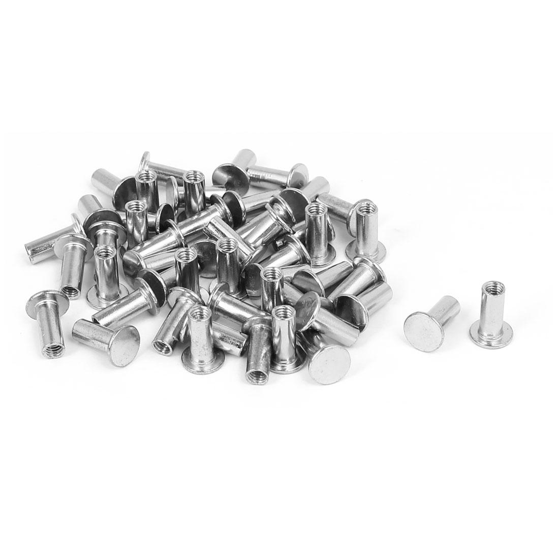 Photo Album Metal Nickel Plated Binding Screw Post Barrel Nut 5mmx12mm 50pcs
