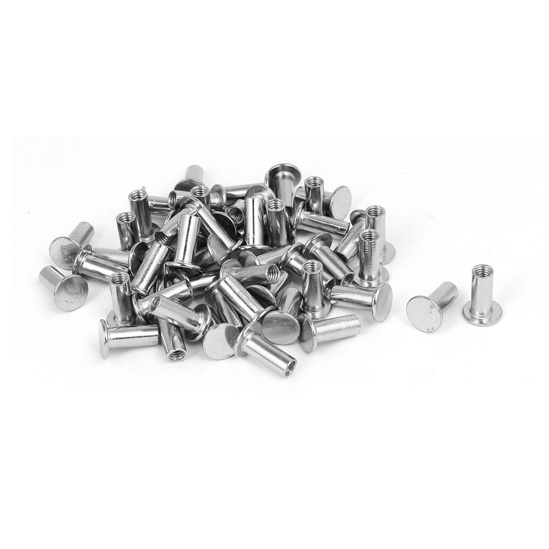 Photo Album Metal Nickel Plated Binding Screw Post Barrel Nut 5mmx12mm 52pcs