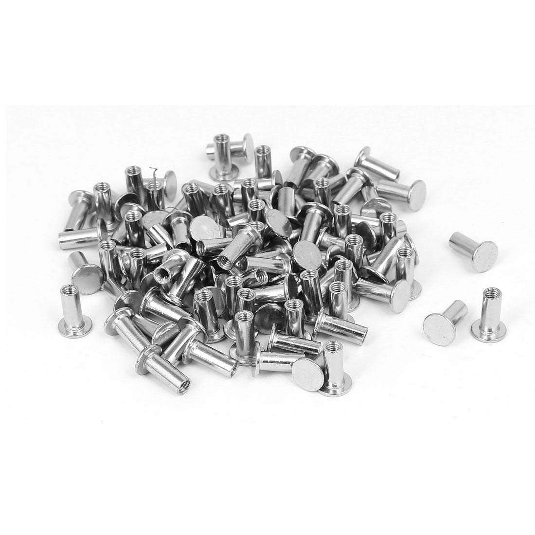 Photo Album Metal Nickel Plated Binding Screw Post Barrel Nut 5mmx12mm 100pcs