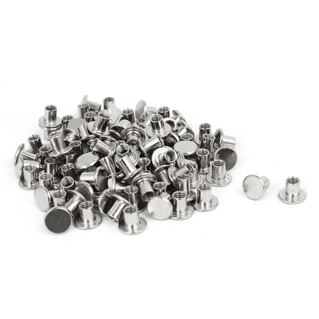 Photo Album Metal Nickel Plated Binding Screw Post Barrel Nut 5mmx6mm 100pcs