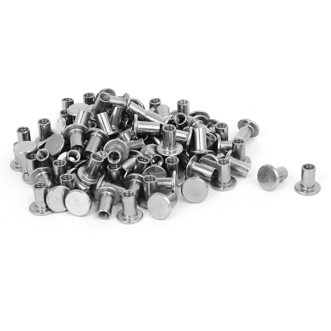 Photo Album Metal Nickel Plated Binding Screw Post Barrel Nut 5mmx8mm 100pcs