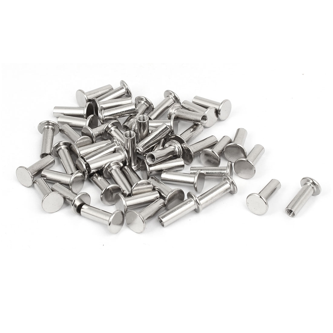 Album Metal Nickel Plated Binding Screw Post Nut 5mmx18mm 50pcs