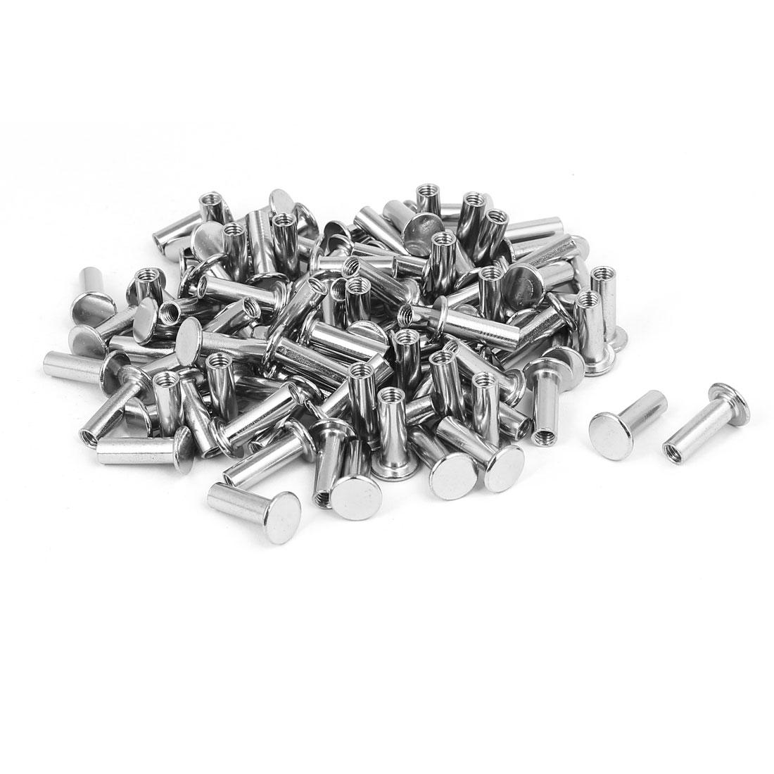 Photo Album Metal Nickel Plated Binding Screw Post Barrel Nut M5x18mm 100pcs