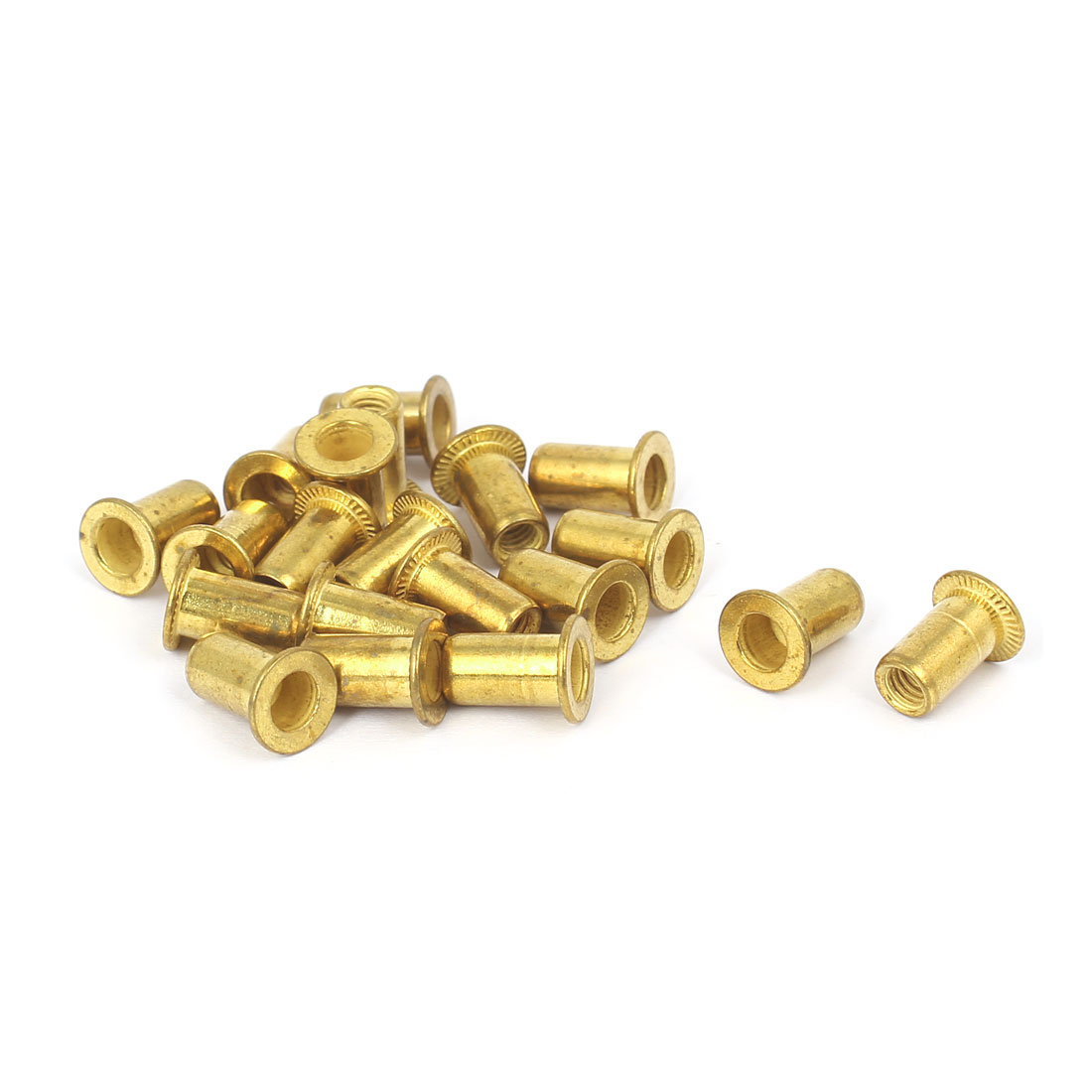 Furniture Brass Flat Head Rivet Nut Insert Nutsert M4 Thread Dia 11mm Long 20pcs