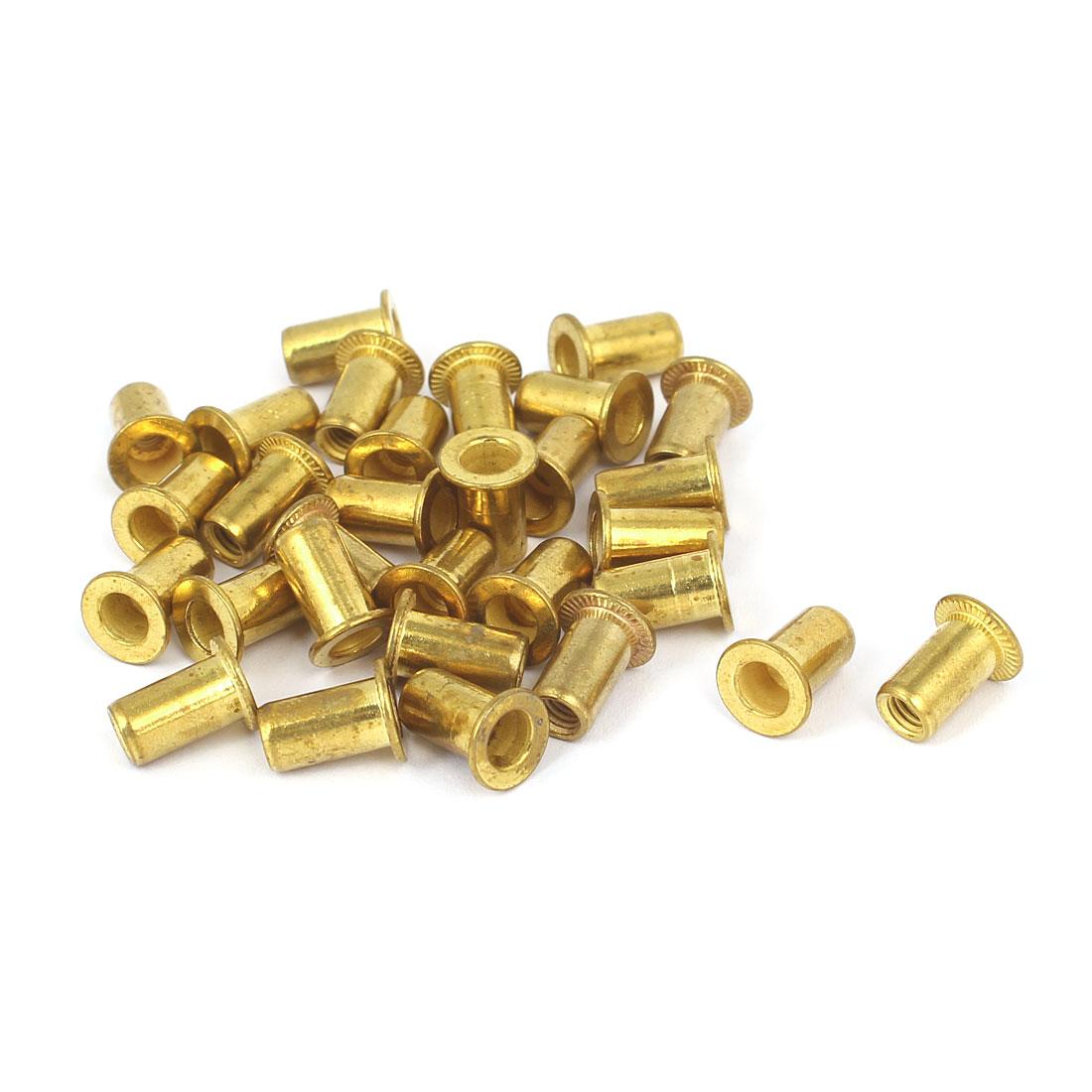 Furniture Brass Flat Head Rivet Nut Insert Nutsert M4 Thread Dia 11mm Long 30pcs